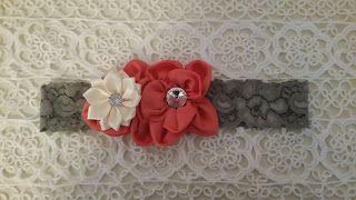 Headbandslatina              : Banda gris con for coral y crema