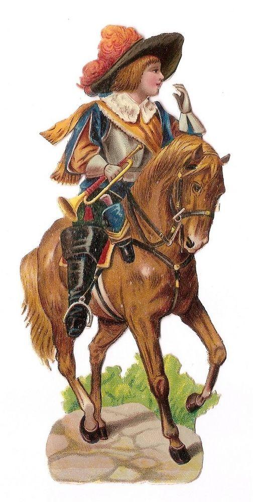 Le Cavalier - Trompette Cheval  - - Chromo Decoupi  Victorian Scrap  Oblaten: