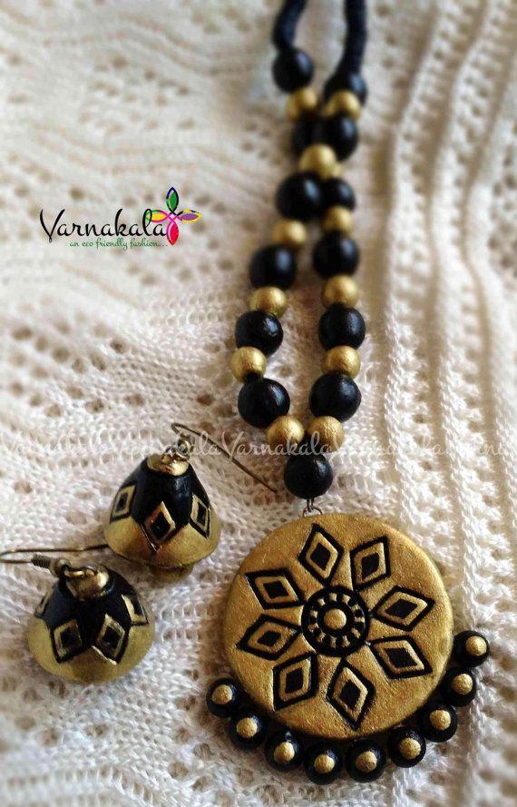 GOLD & BLACK Handmade Terracotta necklace/earring. by Varnakala