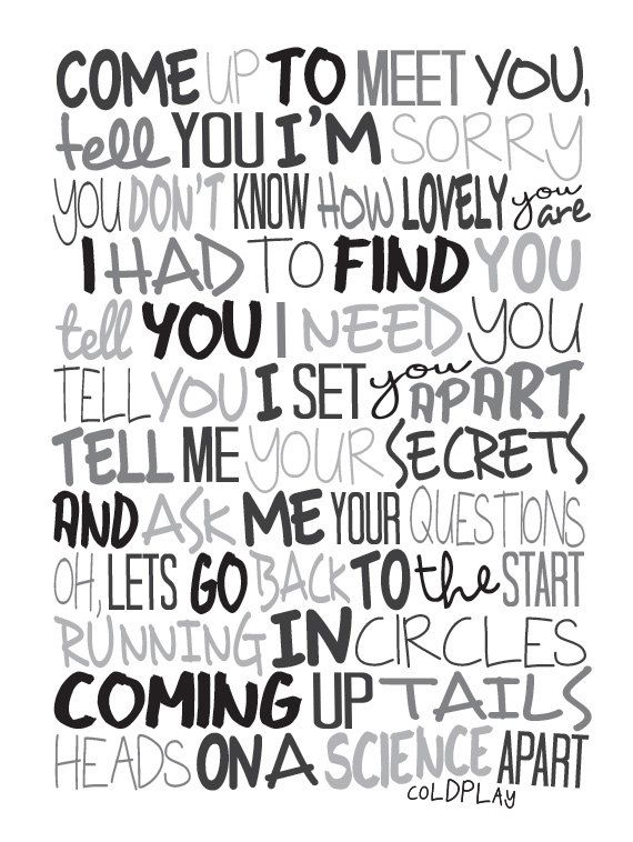 Coldplay - The Scientist Poster, Song Lyrics Print, Music Poster, Song Lyrics