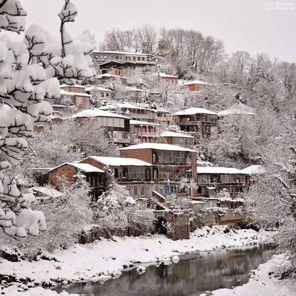 Houses by the Rioni River in Kutaisi (ქუთაისი) in Georgia's western region of Imereti.