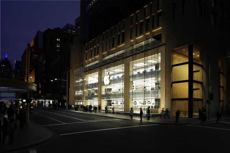 Apple opened its first store in the southern hemisphere in 2008, a three-story shop located in the middle of Sydney's shopping district. The story has Apple's trademark glass front, and light spills out onto the street.