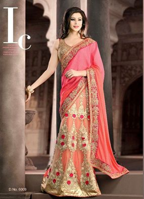 Hypnotize and instill awe in everyone with this eye-catching Pink Georgette Net #PartyWear #designerSaree
