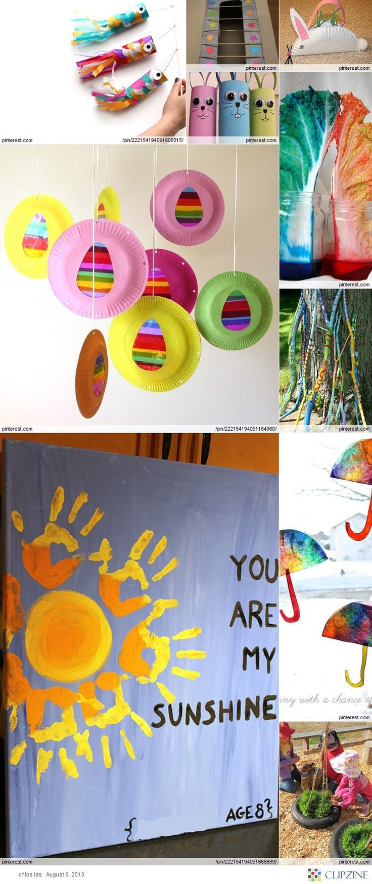 Multiple Kids Crafts Ideas: Handprint/Sunshine, Easter Crafts, Sticks & Yarn/Thread, TP Roll Crafts, & More...