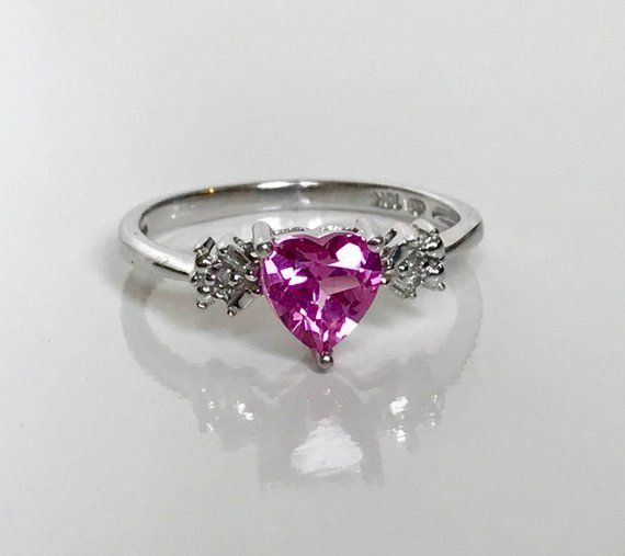 10k White Gold Vintage Heart Shaped Pink Sapphire Ring With Diamond Accents Size 6 5 Pink Sapphire Ring Vintage Fine Jewelry Jewelry