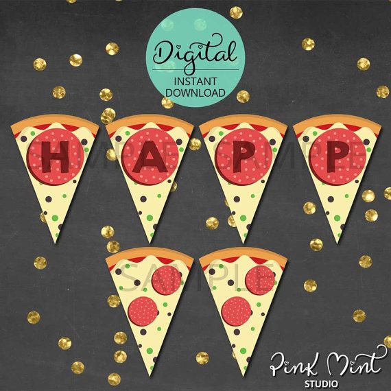 Pizza Birthday Banner Pizza Bunting Pizza Banner by PinkMintStudio
