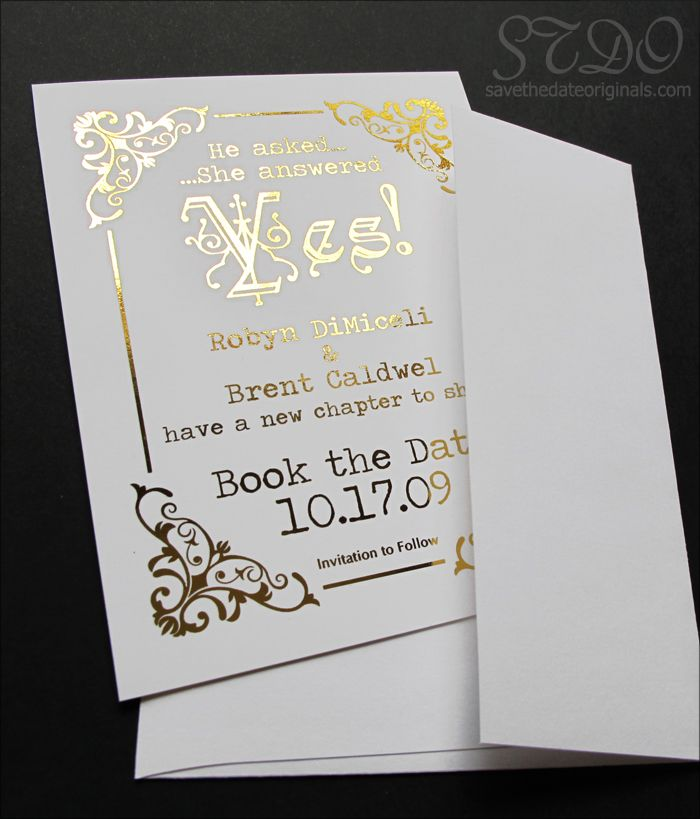 Gilded wedding save the date card