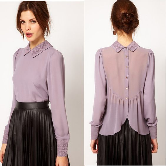 2015 nova malha meia manga feminino dot chiffon camisa personalizada senhoras de renda blusas C022 em Blusas de Roupas e Acessórios no AliExpress.com | Alibaba Group: