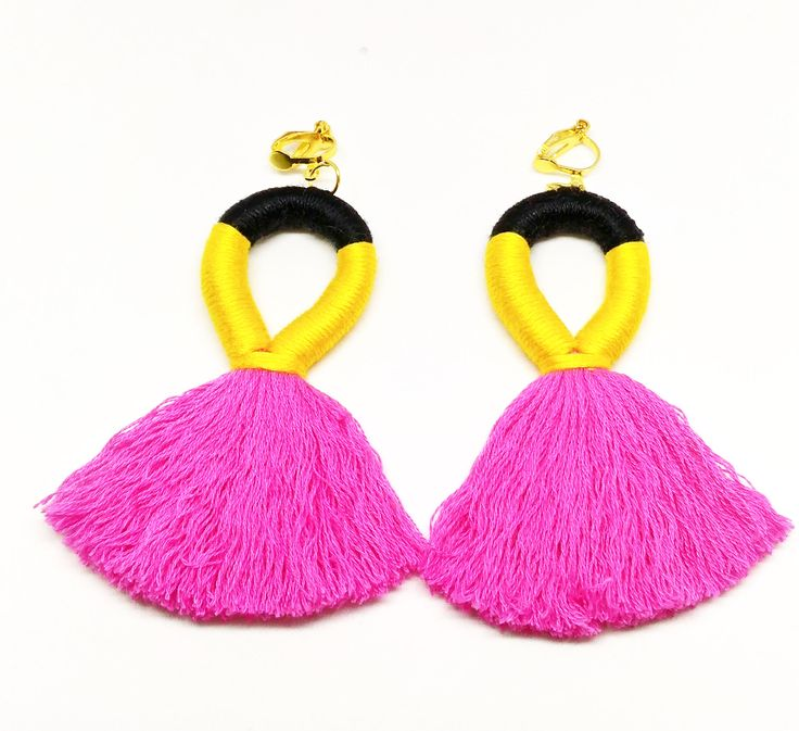 Pink Tassel Earrings Clip On Earrings,Hot Pink Clip On Earrings,Statement Earrings,Multi-coloured Earrings,Clip OnHandmade Earrings by Minimice29 on Etsy
