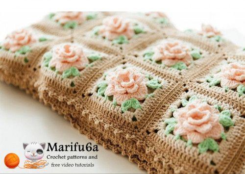Manta de crochê afegão com rosas escrito padrão pdf 154 por marifu6a