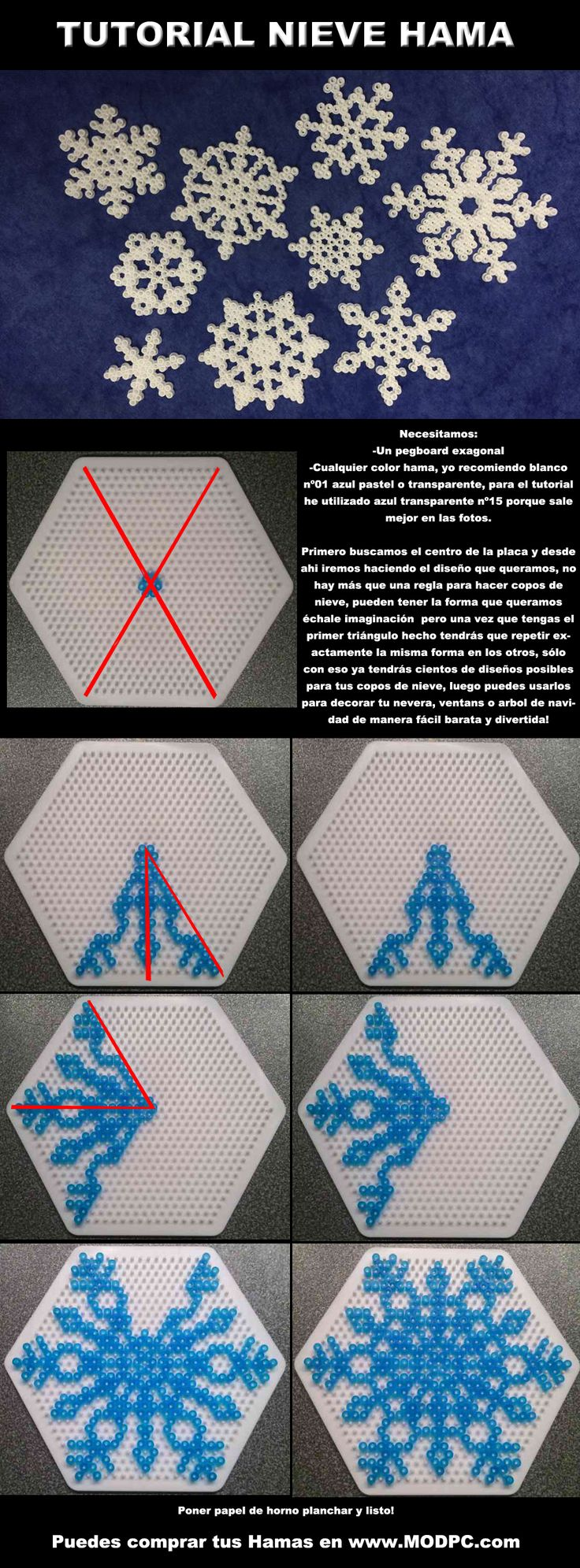 Tutorial: How to perler bead snowflakes by Hamamia on deviantART