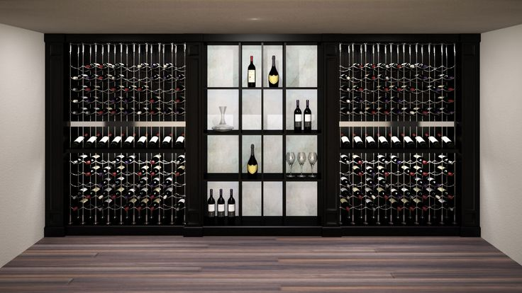 Contemporary espresso and onyx cable custom wine cellar featuring the Cable Wine System.