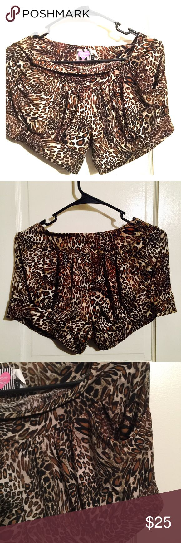 Boutique Cheetah Silky Shorts Silky cheetah shorts with pockets. Makes your butt look amazing!!!!! Purchased at a boutique in Toronto. Brazen Hussy Shorts