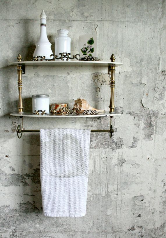 Vintage Wooden Faux Marble And Towel Bar Shelf Towel