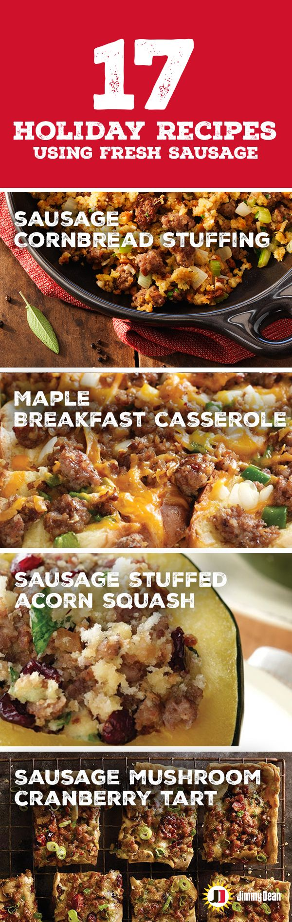 Jimmy Dean fresh Sausage Rolls come in eight flavors. There are almost too many ways to enjoy all our delicious sausage. So we did you a favor and rounded up 17 tasty holiday recipes. If you're looking for something signature seasoned, sweet, spicy, hot or savory we've got a sausage recipe to fulfill all of your guests requests.