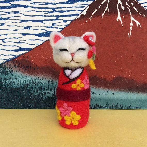 Hana Needle felted kokeshi cat doll with red kimono by SweetPeaDolls