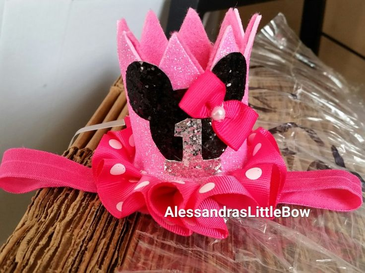 Small pink minnie mouse crown with number Minnie mouse birthday outfit Minnie mouse tutu Minnie headpiece Minnie mouse birthday hat Minnie headband