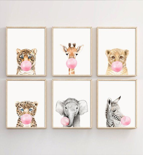 Animal Bubble Gum Wall Art Set de 6 Safari Nursery Decor enfants fille pépinière Safar …  – Acrilico y oleo