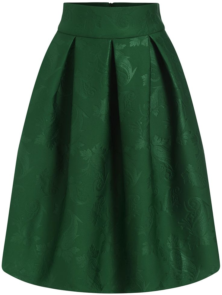 Online shopping for Green Jacquard Flare Midi Skirt from a great selection of women's fashion clothing & more at MakeMeChic.COM.
