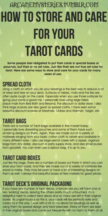 How to store and care for your tarot cards