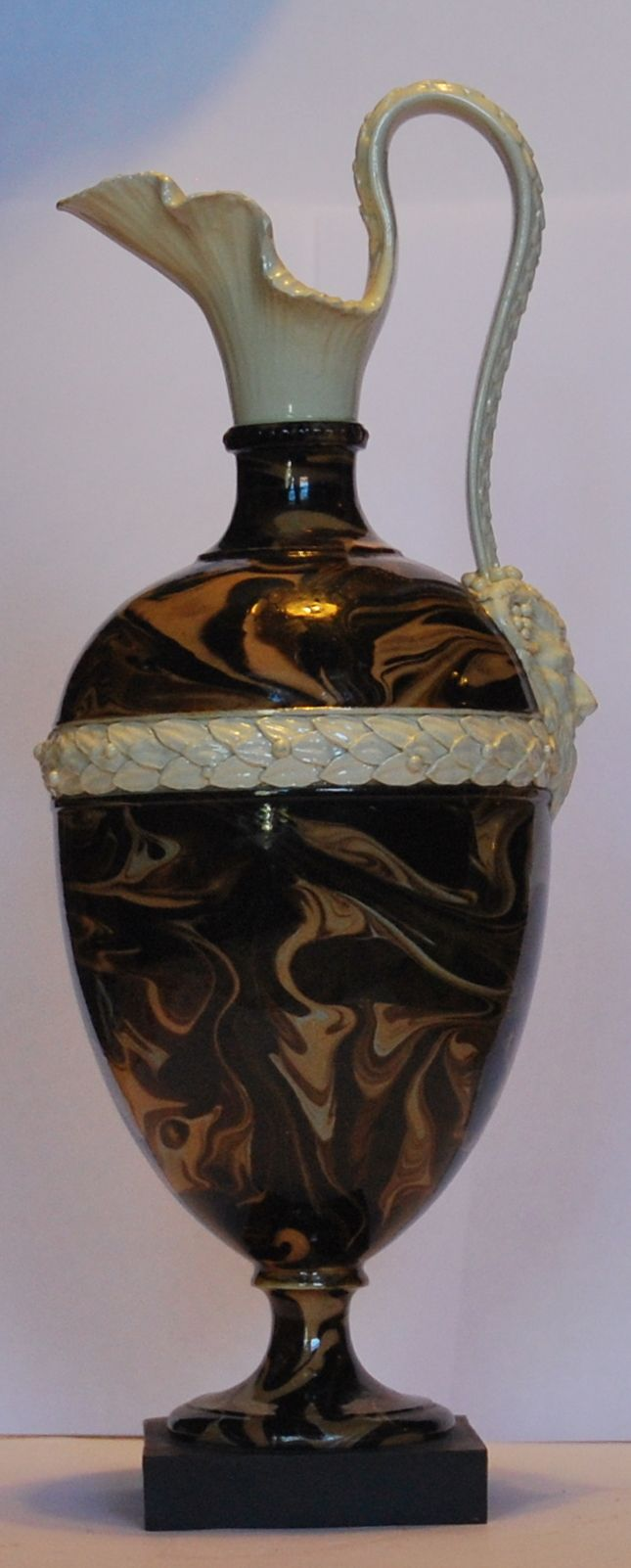 "Oenochoe in surface agate, 10.5"" high. Wedgwood & Bentley, C1775."