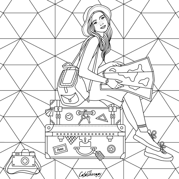girl sitting on suitcases color with Color Therapy: http://www.apple.co/1Mgt7E5 #ColorTherapyApp #coloring #adultcoloringbook