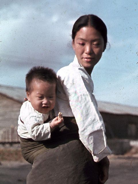 Korean countryside near Seoul in fall of 1945.  (Agfacolor film shot with a Leica)