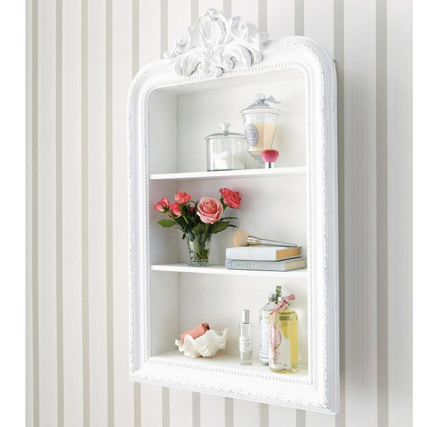 Estanter a blanca de madera tallada an 79 cm nice for Shabby romantique