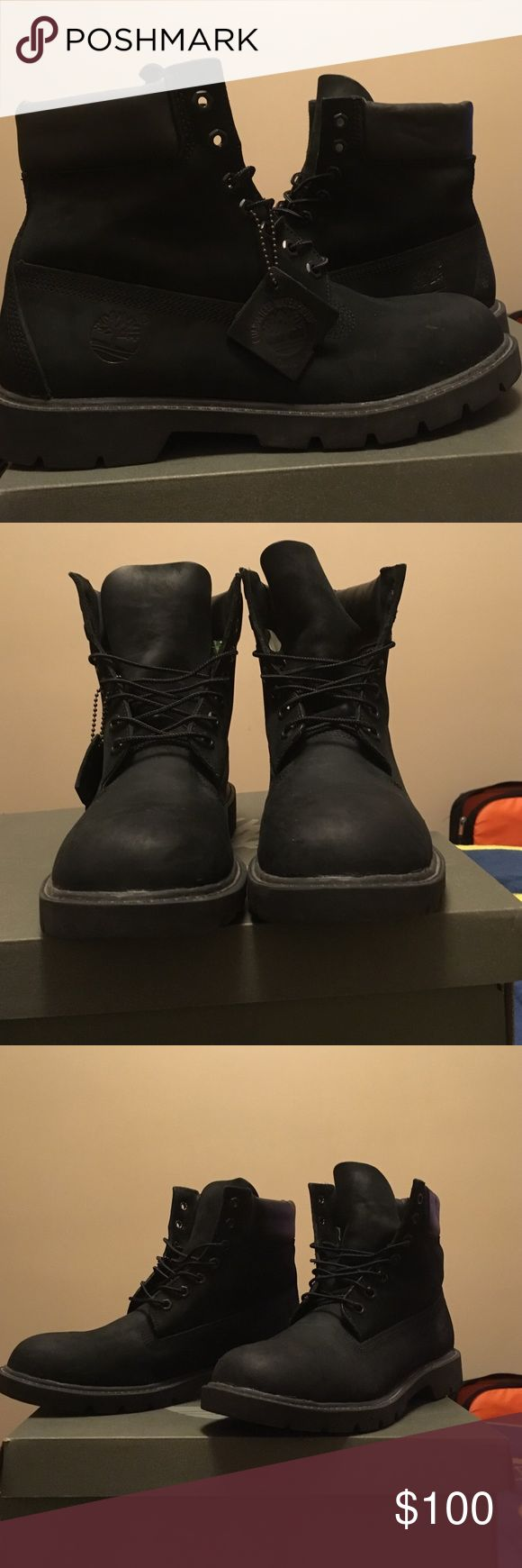 all black timberlands 9/10 condition  with original box Timberland Shoes Rain & Snow Boots