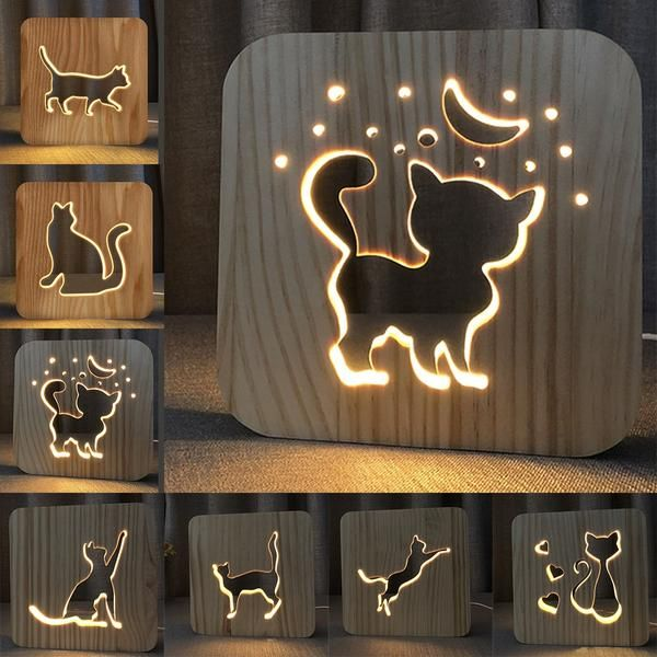 Wooden Lamp Cute Kawaii Cat Lamp Free Shipping World Wide Dean Mary Em 2020 Decoracao Com Madeira Arte Moveis Decoracao