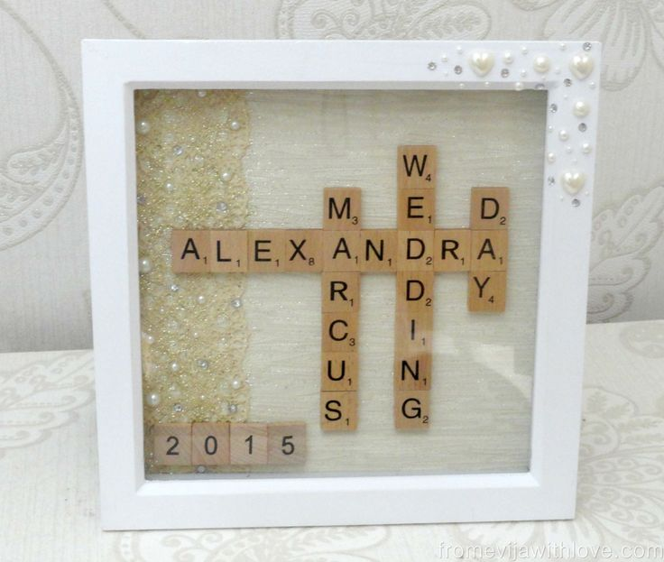I loved the idea of scrabble art as I have seen so many lovely projects. The wedding scrabble frame seemed to be a perfect gift idea for this occasion!