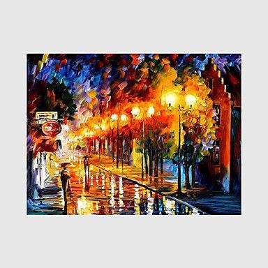 Handgeschilderde Landschap / Mensen / Bloemenmotief/Botanisch Olie schilderijen,Modern Eén paneel CanvasHang-geschilderd 5296890 2017 – €72.90
