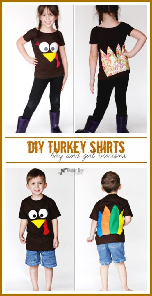 how to make a turkey shirt - thanksgiving fall craft