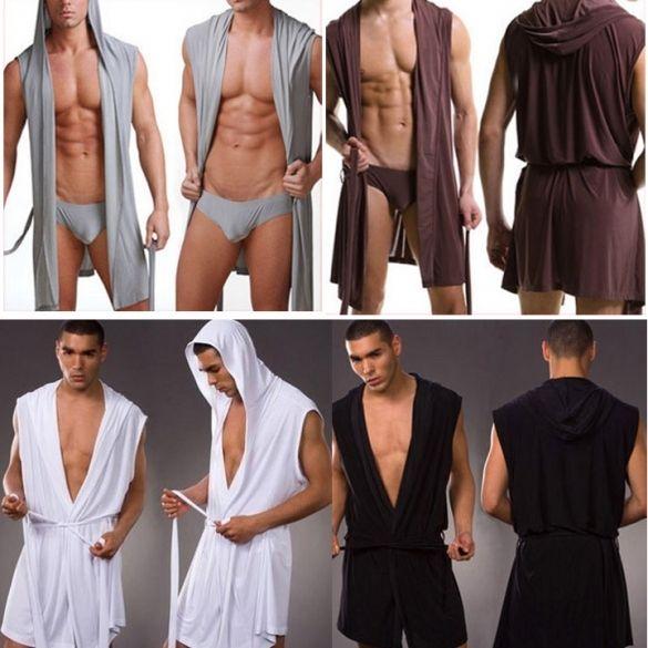 Hot hommes sous-vêtements loisirs salon robe hooded peignoirs doux robe pyjama