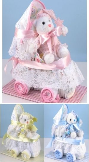 Baby Diaper Carriage | Buy at All About Gifts & Baskets (http://www.aagiftsandbaskets.com/baby_diaper_carriage.html)