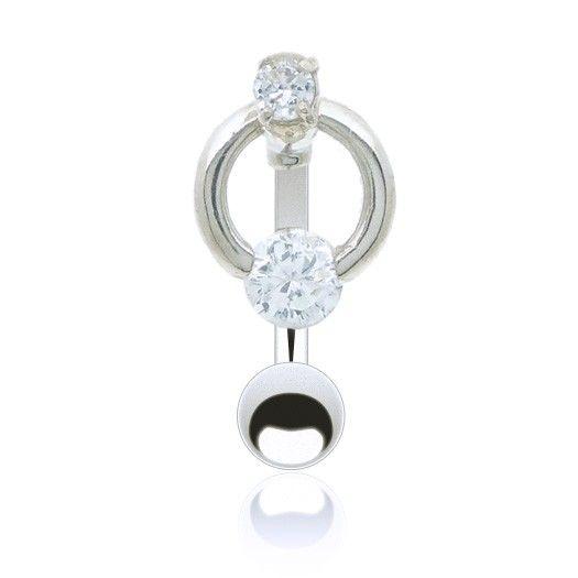 Discret et gracieux ce bijou piercing de nombril inversé orné d'un brillant de couleur.