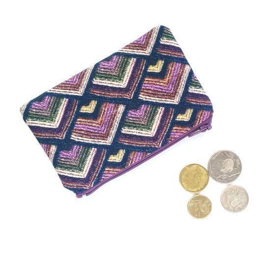 Purple Aztec Coin Purse, Purple Boho Change Purse, Chevron Purple Earbuds Holder, Chevron Small Purse, Lipstick Pouch, Aztec Coin Pouch