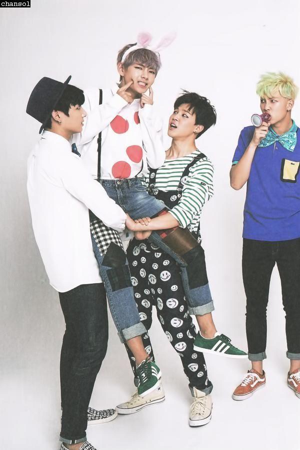 Kim Tae Hyung (V), Kim Nam Joon (Rap Monster), Jeon Jeong Guk (Jungkook) and Park Ji Min (Jimin)