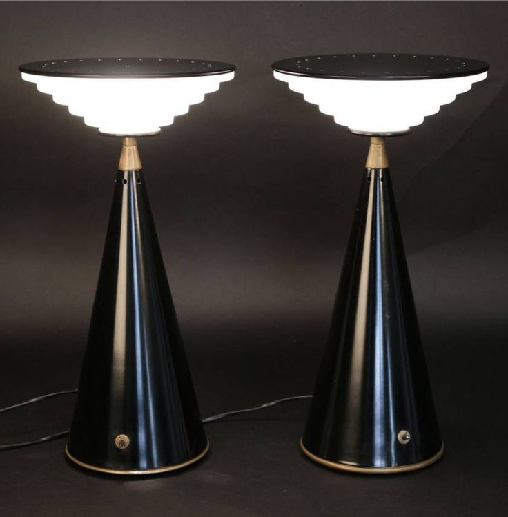 Shigeaki Asahara; Enameled Metal, Glass and Brass 'Ziggurat' Table Lamps for Stilnovo, 1980s.