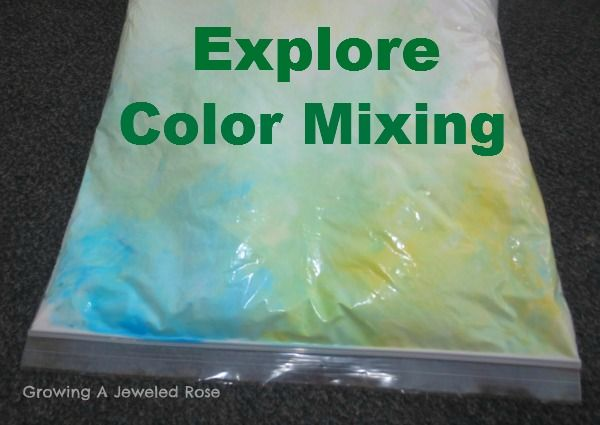 Explore color mixing with shaving Cream in a Bag