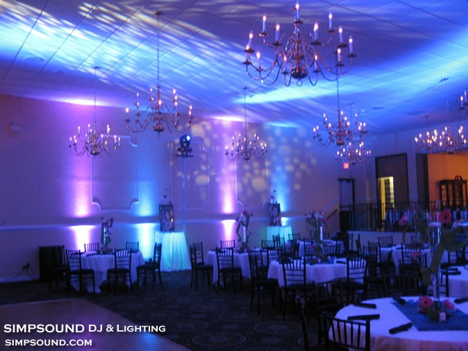 Uplighting and ceiling effects - Women's Club, Raleigh, NC; Simpsound DJ & Lighting Services, www.simpsound.com