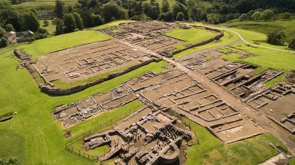 Vindolanda was a Roman auxiliary fort just south of Hadrian's Wall. The fort was founded in 85 CE by Belgian auxiliary soldiers and was inhabited in various forms and layouts until well after 410 CE. It was garrisoned at different times by several units, most importantly the First Cohort of Tungrians and the Third and Ninth Cohorts of Batavians. Image credit: Vindolanda Trust.