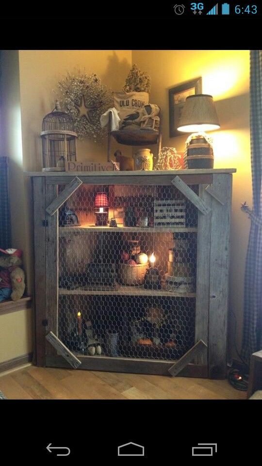 Prim cabinet ~ Could make this out of a pallet  and some old chicken wire I have in the barn!  ♥