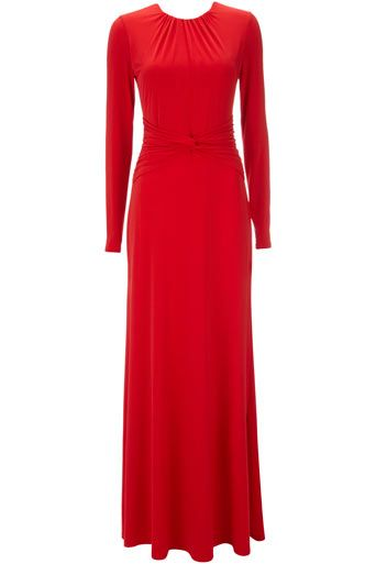 Red Long Sleeve Maxi Dress
