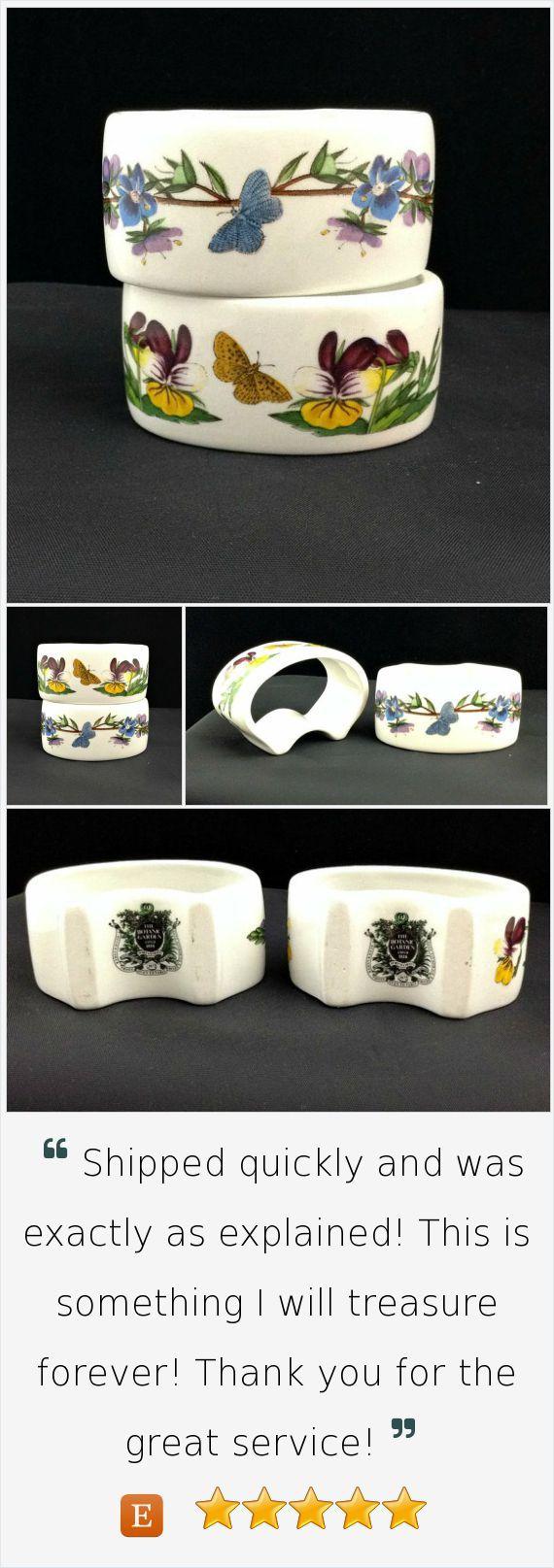Portmeirion China Botanic Garden Napkin Rings Napkin Holders Pair - Speedwell, Heartsease #vintage