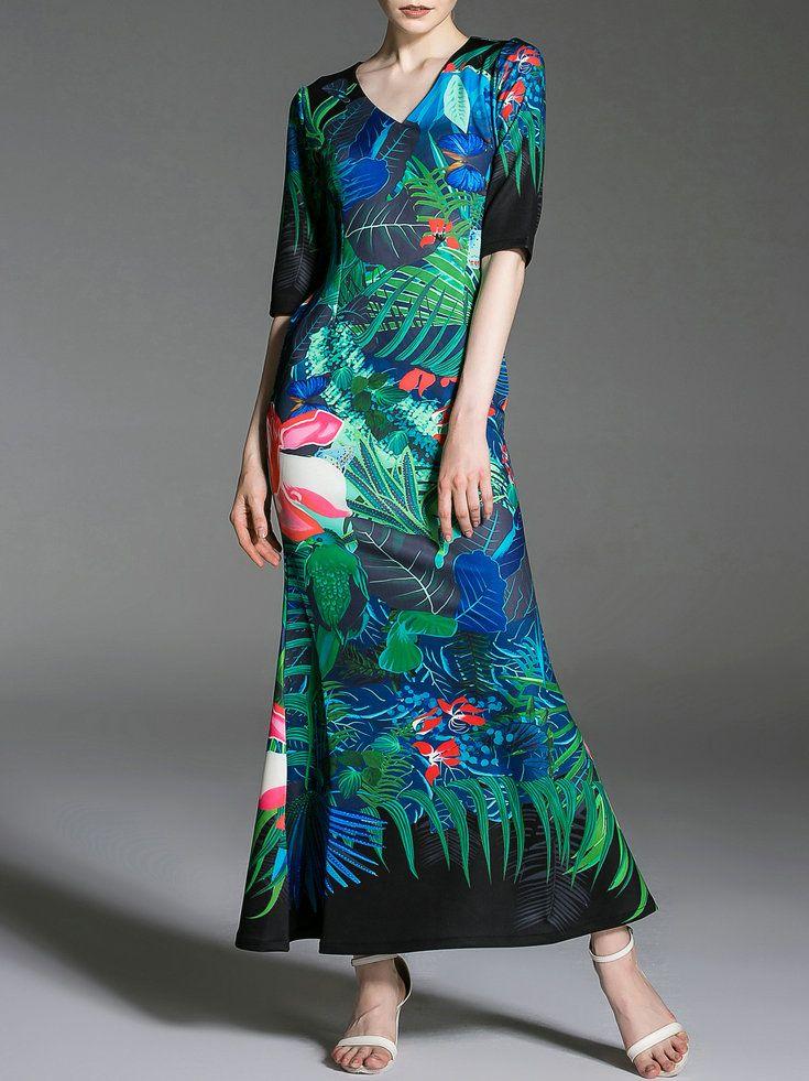 Blue Floral V Neck Elegant Maxi Dress - StyleWe.com
