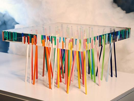 Table en verre Crossing par Patricia Urquiola
