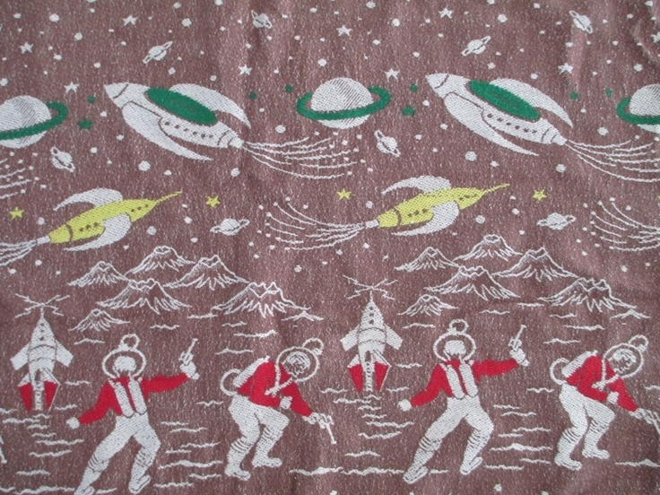 1950 39 s atomic fabric vintage bedspread space spacemen for Vintage space fabric