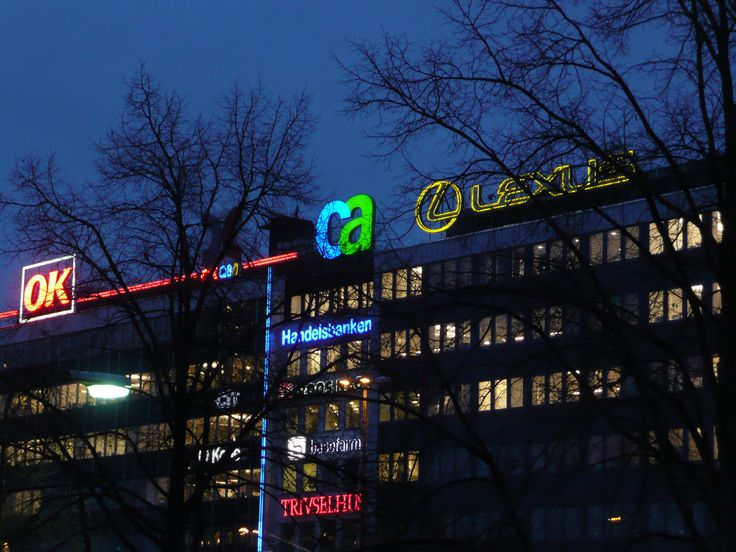 CA Technologies Norrtull Stockholm Exterior Corporate Signage Roof monted channel letters