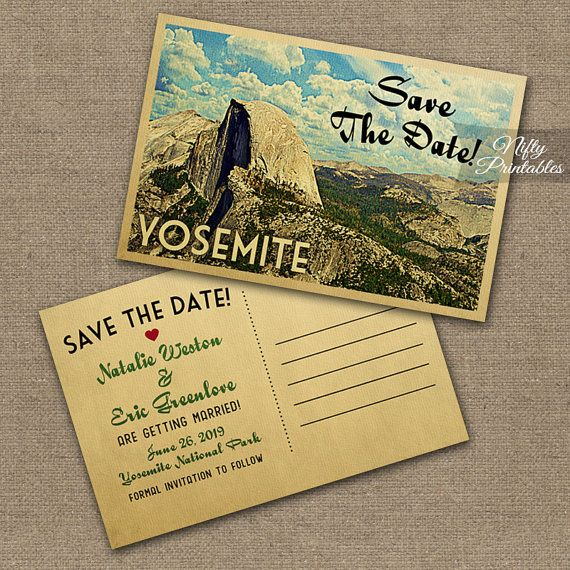 Yosemite Save The Date Postcards - Printable Yosemite Half Dome Postcard - Yosemite National Park Save The Date Cards VTW